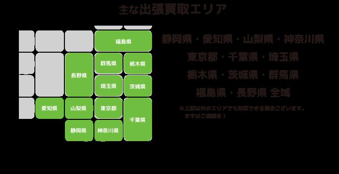 主な出張買取エリア 静岡県・愛知県・山梨県・神奈川県・東京都全域(※上記以外のエリアでも対応できる場合ございます。まずはご連絡を!)